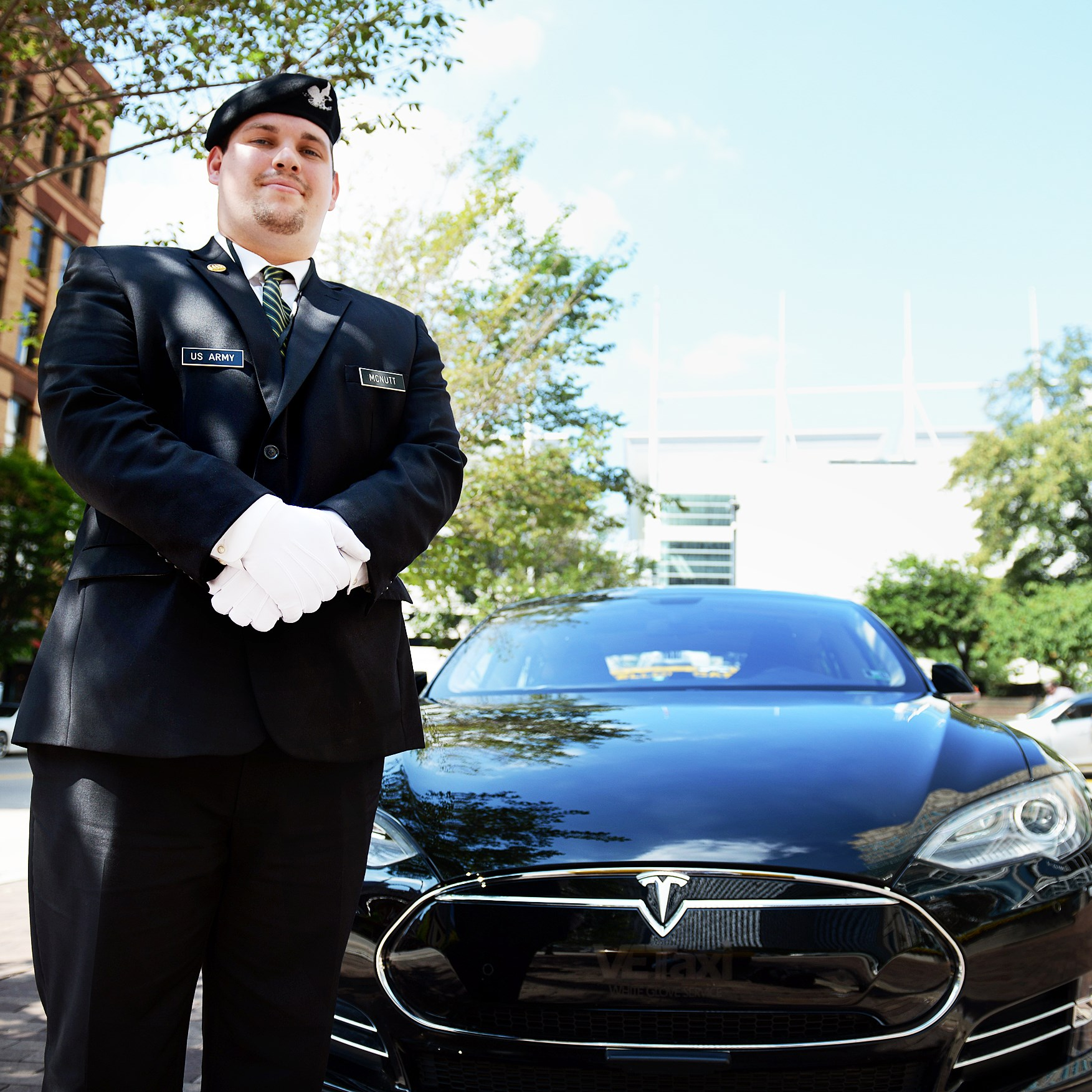 "Anthony McNutt is a driver with the Star Transportation Group, which has a fleet of Teslas for its ""White Glove"" executive car service."