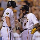 Josh Harrison is congratulated by Travis Snider after hitting a home run against the Cardinals in the fifth inning at PNC Park Tuesday night.