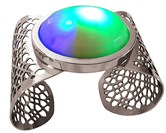 The Curioso Cuff illuminates with the goal of attracting attention and starting conversations in social settings.