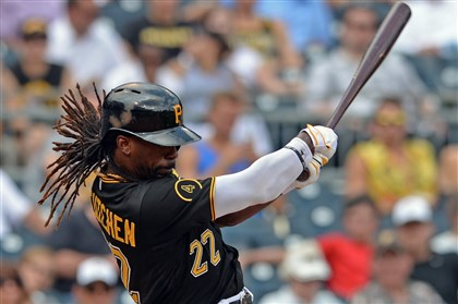 20140827mfbucssports07 Andrew McCutchen hits a single against the Cardinals in the seventh inning at PNC Park.