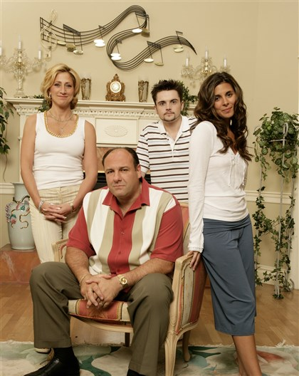 "201490828HOSopranos-2 ""The Sopranos, from left, Edie Falco, as Carmela; James Gandolfini as Tony; Robert Iler as A.J. and Jamie-Lynn Sigler as Meadow."