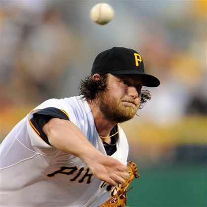20140826mfbucssports02-1 Pirates' Gerrit Cole pitches against the Cardinals at PNC Park Tuesday night.