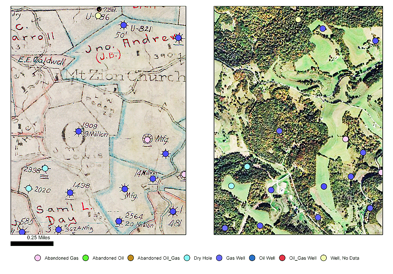 20140902hoWellmap The Department of Environmental Protection is creating a public online mapping tool by compiling and digitizing historical maps of legacy oil and gas wells, like the ones shown above in southwestern Pennsylvania. Well sites found on a scanned historical source map (left) are matched with a contemporary aerial photograph (right).