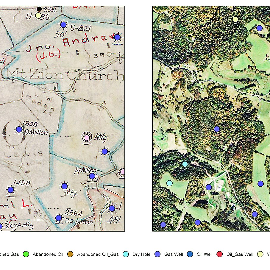 The Department of Environmental Protection is creating a public online mapping tool by compiling and digitizing historical maps of legacy oil and gas wells, like the ones shown above in southwestern Pennsylvania. Well sites found on a scanned historical source map (left) are matched with a contemporary aerial photograph (right).