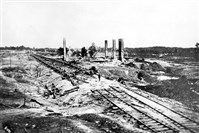 "This historic photo shows the site on the east side of Atlanta where Confederate Gen. John B. Hood blew up his munitions train on Sept. 1, 1864, as his troops fled the city ahead of approaching Union armies. This was the historical basis for the famous scene in ""Gone With the Wind"" that shows the burning of Atlanta."