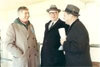 Left to right, Ed Sabol, the founder of NFL Films, Steelers founder Art Rooney and Ed Kiely.