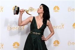 Sarah Silverman poses with one of her two Emmy Awards in Los Angeles.