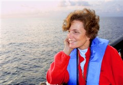 Dr. Sylvia Earle looking out over the Gulf of Mexico.