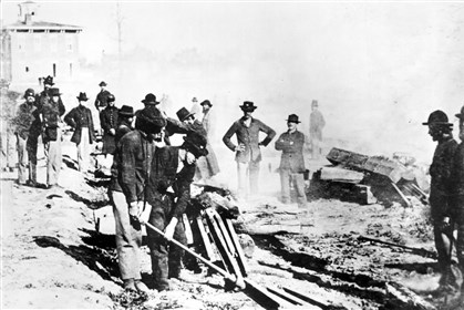 Atlanta10-2 The destruction of railroad tracks in Atlanta by Union troops, in the weeks following their occupation of the city on Sept. 2, 1864.