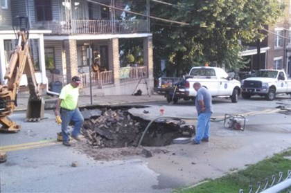 charleroi_break.jpg A water main break on Fifth Street in Charleroi has disrupted water service to a number of customers today.