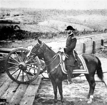 "atlanta4 In this 1864 picture, Gen. William T. Sherman inspects battlements in Atlanta prior to his ""march to the sea"" during the Civil War. After his capture of Atlanta, Sherman went on to capture Savannah and divide the Confederate States of America."