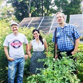 From left, Brad Yoder, Julie Pezzino and Fred Kraybill at Grow Pittsburgh's Shiloh Peace Garden.
