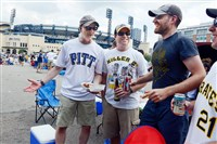 From left to right, Larry Marcello of Brentwood, Greg Neugebauer of Delmont, Nick Kennedy of Regent Square and Steve Benso of Shadyside tailgate Saturday on the North Shore, which was full of activity with University of Pittsburgh playing the University of Delaware at Heinz Field, the Pirates playing the Cincinnati Reds and the Kickoff and Rib Festival all happening.