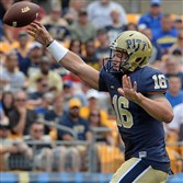 Pitt quarterback Chad Voytik delivers a pass against Delaware in the season opener Aug. 30 at Heinz Field.