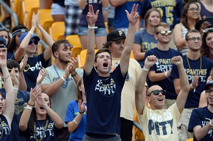 Pitt fans Pitt fans cheer as their team is introduced before the game against Delaware at Heinz Field Saturday afternoon.