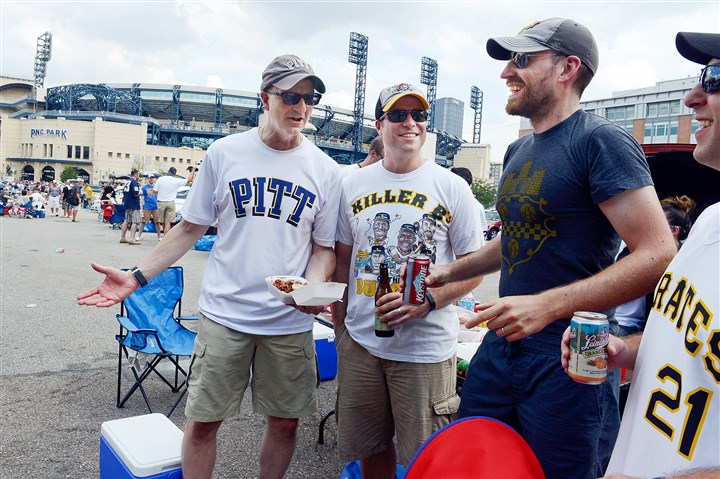 20140830bwShoreLocal01 From left to right, Larry Marcello of Brentwood, Greg Neugebauer of Delmont, Nick Kennedy of Regent Square and Steve Benso of Shadyside tailgate Saturday on the North Shore, which was full of activity with University of Pittsburgh playing the University of Delaware at Heinz Field, the Pirates playing the Cincinnati Reds and the Kickoff and Rib Festival all happening.
