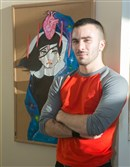 "Fashion designer and artist Jeremy Priola with his mixed media piece ""Content"" at ""Art for the Heart."""