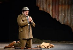 "Justin R. G. Holcomb is Christopher Roulston in PICT Classical Theatre's ""Observe the Sons of Ulster Marching Towards the Somme."""
