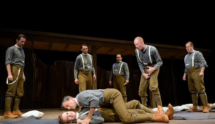 "20140831jrPICTmag4-3 Nat McIlwaine (Tony Bingham) pins Martin Crawford (Dylan Marquis Meyers) as George Anderson (Jonathan Visser) incites them in PICT Classical Theatre's ""Observe the Sons of Ulster Marching Towards the Somme."""