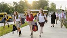 Students arrive for the first day of school at the new Cardinal Wuerl North Catholic High School in Cranberry. The school opened for students Sept. 2 at its new location. It previously was in Pittsburgh's Troy Hill neighborhood.