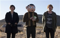 "Maggie Gyllenhaal, Michael Fassbender and Domhnall Gleeson in ""Frank."" ."
