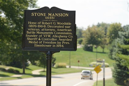 20140826RARlocalmansion3-2 The commemorative marker for the Stone Mansion in Franklin Park.