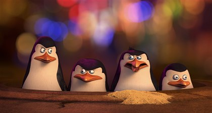 "preview_penguinsofmadagascar-1 From left, Kowalski (voiced by Chris Miller) , Skipper (voiced by Tom McGrath), Rico, Private (voiced by Christpher Knights) in ""The Penguins of Madagascar."""