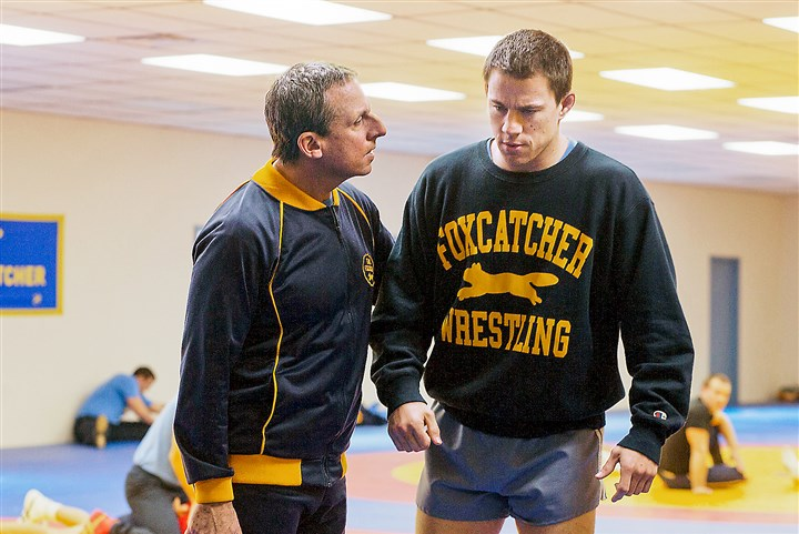 "foxcatcher Steve Carell and Channing Tatum in ""Foxcatcher."""