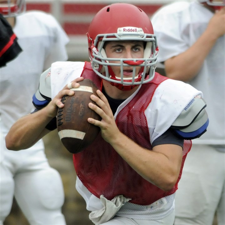 9hz00kld.jpg Injured last season, quarterback Jack Bruder has returned to the North Hills lineup to supply the Indians with some offensive punch.