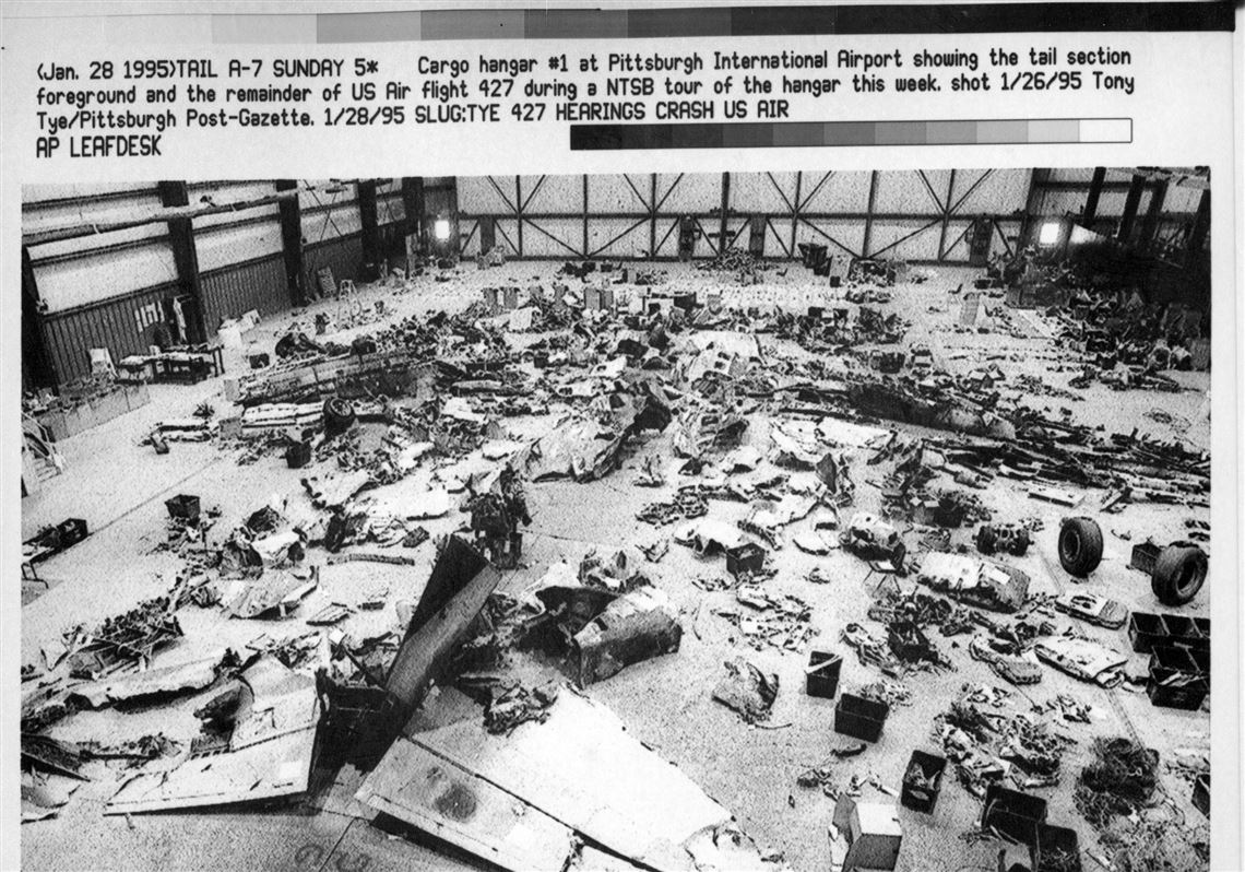 in january 1995 cargo hangar no 1 at pittsburgh international airport full of pieces