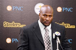 James Harrison is stoic as he announces what would end up being a short-lived retirement at the Steelers headquarters on the South Side earlier this month.