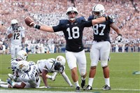 Penn State tight end Jesse James celebrates after scoring a touchdown.