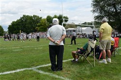 Fans watch a game between Riverview and Monessen on Saturday, September 6, 2014 sitting on lawn chairs behind the end zone at Oakmont's Riverside Park, Riverview's home field. The Raiders have been playing homes games on Saturday afternoons since the school was formed in 1971.