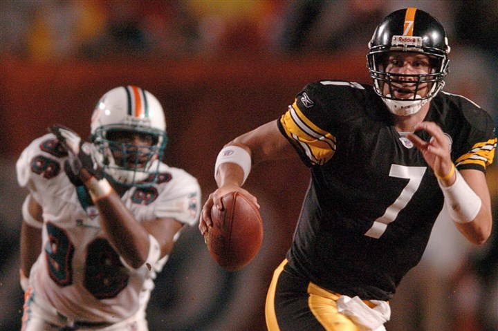 Sept. 26, 2004 -- Ben Roethlisberger Sept. 26, 2004 -- Ben Roethlisberger eludes the Miami rush in his first NFL start