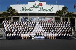 The Franklin Regional High School Band poses outside the Rose Bowl in 2012, the first of two appearances the band has made in Pasadena's Rose Parade. This year's version of the band has another high-profile gig coming: next month's inaugural parade for Donald Trump.