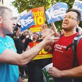 Two men argue about the Scottish referendum for independence during a rally Wednesday in Glasgow, Scotland.