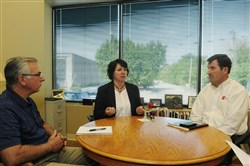 September 10, 2014, Ralph Musthaler/Post-Gazette, ASSET STEM Warhouse, Business, Joyce Gannon ASSET Executive Director Cythia Pulkowski along with Material Support Center Director Frank Arzenti and DM Logic President Tom Lee explain the process of distributing science materials among the many school districts they service.