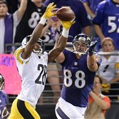 "Cortez Allen breaks up a pass intended for Dennis Pitta Sept. 11 against the Ravens. The Steelers are one of three teams that haven't forced a turnover this season. ""We have to get people in longer-yardage situations to get those turnovers,"" defensive coordinator Dick LeBeau said."