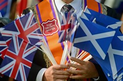 Orangemen and women march during a pro-union parade, less than a week before voters go to the polls in a yes or no referendum on whether Scotland should become and independent country.