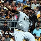 Pirates pitcher Edinson Volquez tries to throw out the Cubs' Matt Szczur in the second inning of a September game at PNC Park. Volquez will start for the Pirates on Wednesday against the Giants.