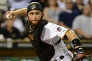 Pirates catcher Russell Martin throws out a runner in a game last month at PNC Park.