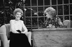 "In this Oct. 30, 1986 file photo, talk show host Joan Rivers, right, talks with guest, first lady Nancy Reagan, during her appearance on ""The Late Show Starring Joan Rivers,"" on Fox TV. There has been no progress in adding women or minorities to the ranks of late-night network talk shows since Rivers held the job on Fox 30 years ago."