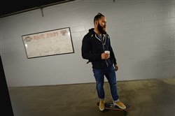 So you think a pennant race is all tight stomachs and scoreboard watching? Catcher Russell Martin skate boards through the hallways beneath PNC Park this week.