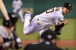 Pirates' starter Charlie Morton deliver against the Red Sox at PNC Park.