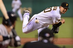 Pirates starter Charlie Morton deliver against the Red Sox at PNC Park Tuesday.