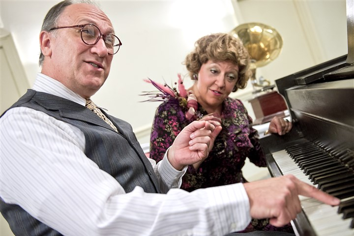 "20140917hoSouvenirmag The comedy ""Souvenir"" by The Rep, Point Park's professional company, features Jeff Howell as Cosme McMoon and Jill Keating as Florence Foster Jenkins, a wealthy socialite who suffers under the delusion that she is a great singer."