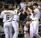 Ike Davis is congratulated Wednesday night after hitting a three run-homer against the Boston Red Sox at PNC Park.
