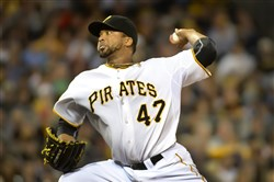 Pirates starter Francisco Liriano delivers against the Red Sox at PNC Park Wednesday.