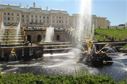 The Grand Cascade at Peterhof Palace, built on the Gulf of Finland for Peter the Great .