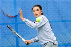 Alyvia Kluska of Greensburg Central Catholic played against her sister in the WPIAL Class AA girls singles championships Thursday at Shady Side Academy.